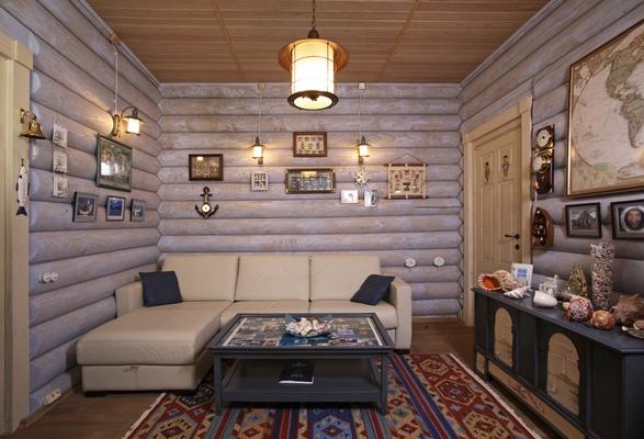 Интерьеры бревенчатых домов фото внутри