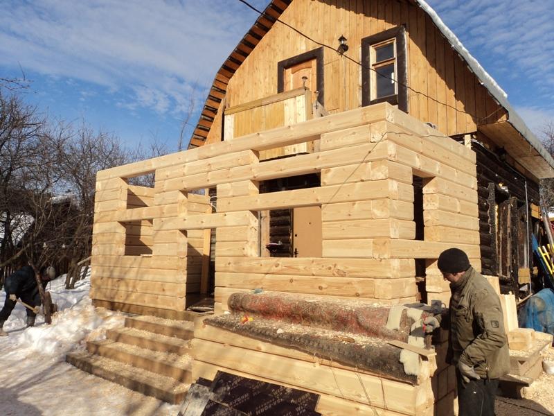 Пристрой к деревянному дому из бруса своими руками