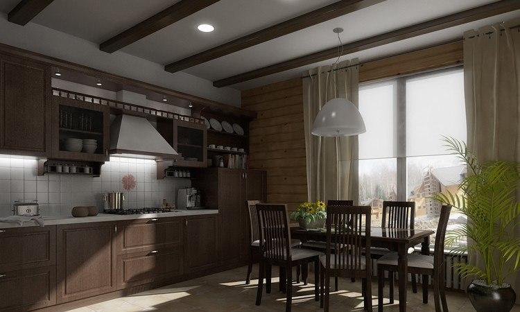 Кухня-гостиная брус дизайн