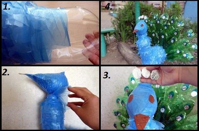 Павлин из пластиковых бутылок своими руками пошаговая инструкция фото