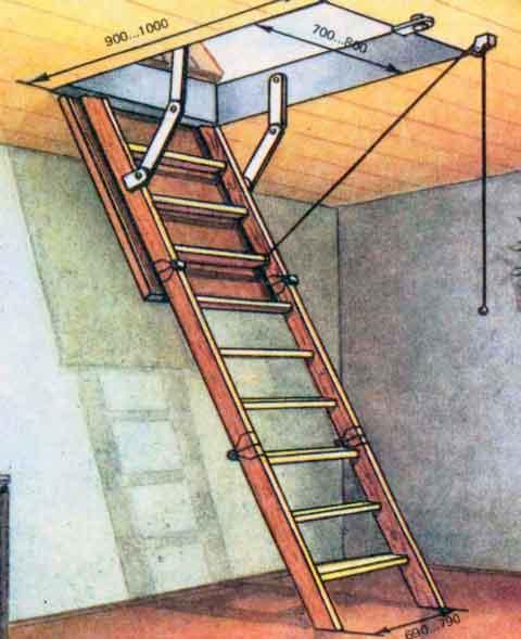 Лестница на чердак своими руками фото