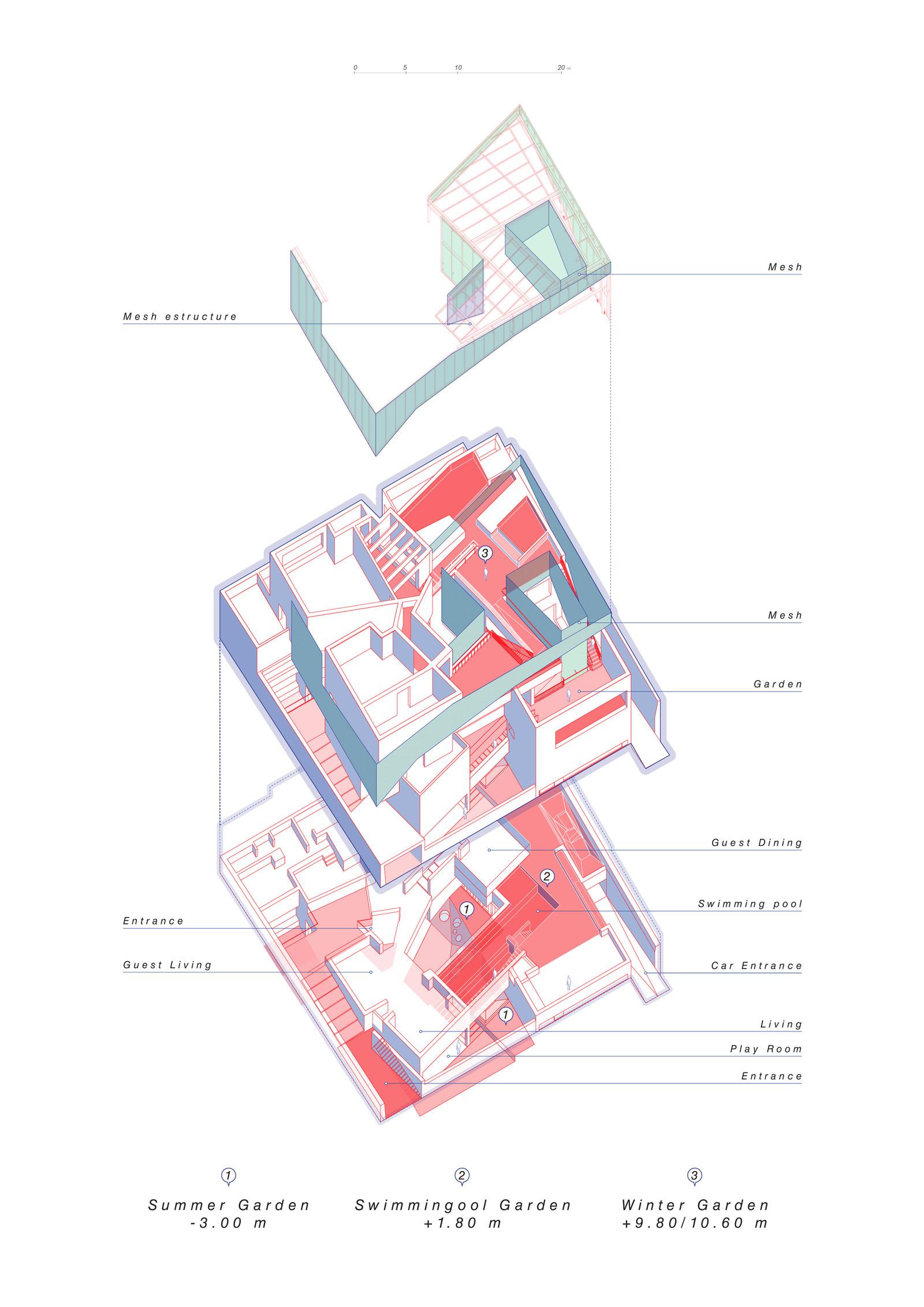 Будинок з трьома внутрішніми садами