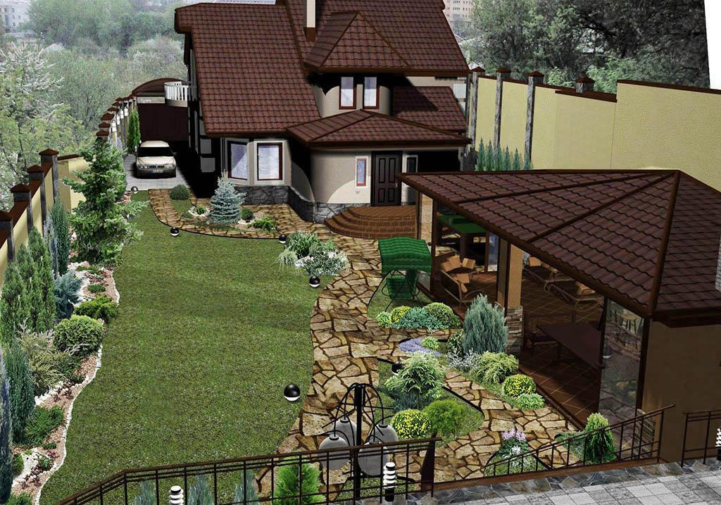Дизайн участка 15 соток вокруг дома с беседкой 106