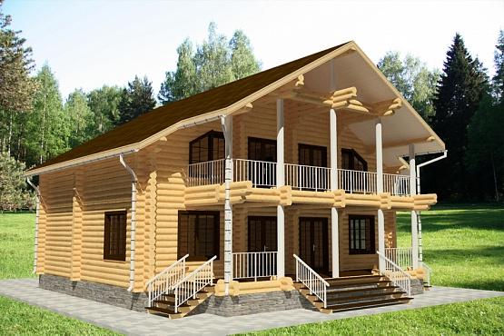 Проект дома из бревна 2 этажа / оцилиндрованое бревно (2012..