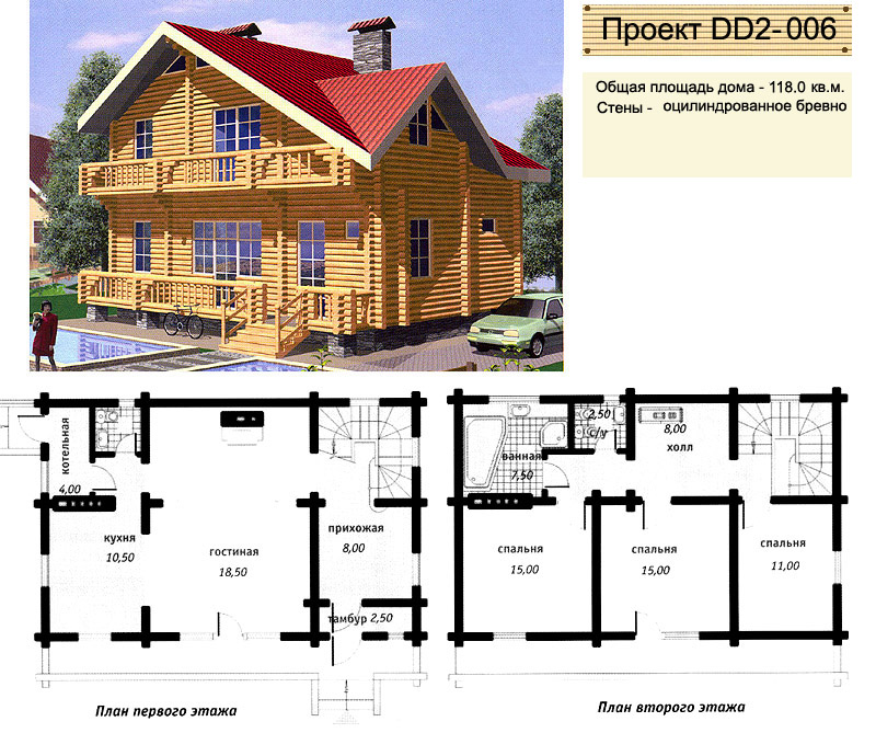 проекты жилых домов из бревна